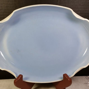 Hocking Vitrock Blue Miniature Flower Garden Tray Fire-King Vitrock Serving Platter Plate Blue Oval Tray Anchor Hocking Milk Glass Tray