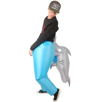 Cool Inflatable Shark bite costume adult novelty fancy dress postman stag SHARK cosplay costume for Halloween Purim party150cm-200cmAT_93_12