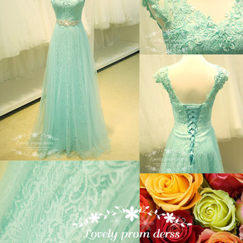 Lace prom dress,long prom dress,tulle prom dress,Mint green prom dress,evening prom dress,party dress,bridesmaid dress,formal prom dress.