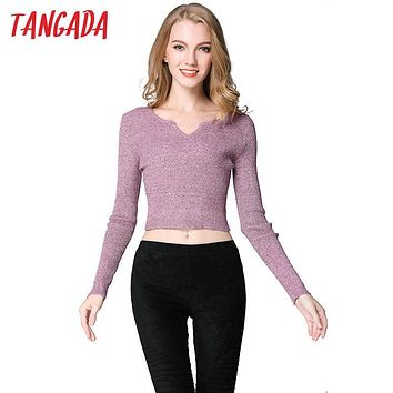 Tangada Autumn Fashion Women Short Sweaters Cropped Pullovers Knitted V-Neck casual stretch Long Sleeve Brand Female Tops 2T6