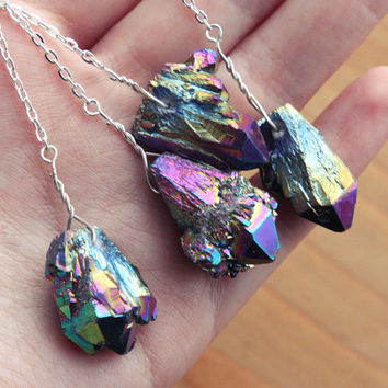 Rainbow Quartz Cluster Arrow Necklace - Natural Crystal Druzy Aura Long Raw Rough Point Gemstone Gem Drop on Sterling Silver Plated Chain