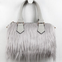 Faux Fur Satchel Bag