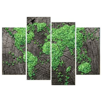 4 Panel Green World Map Landscape Tree Forest  Wall Picture For Living Room Home