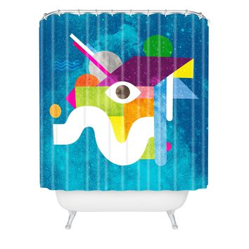 Nick Nelson Space Face Blue Shower Curtain