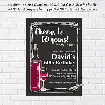 Aged to Perfection, wine invitation,  cheers to , chalkboard wine birthday invitation 30th 40th 50th 60th 70th 80 - card 963