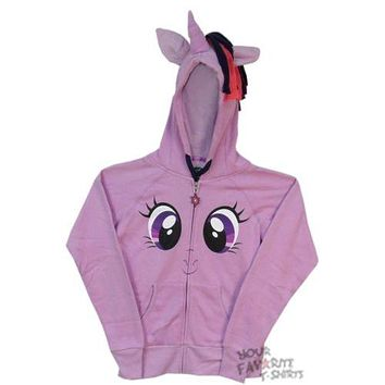 My Little Pony Twilight Sparkles Face Costume MLP Licensed Junior Zip Up Hoodie