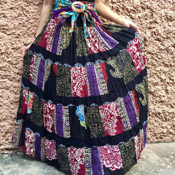 Hippie Multicolor Maxi Dress Maxi Skirt bohemian Festival Boho Gypsy clothing tribal Vegan style Recycled One of kind handmade gift Women