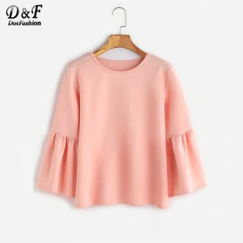 Round Neck Bell Sleeve Casual Blouse Autumn Three Quarter Length Slim Blouse With Ruffle Women Cute Top