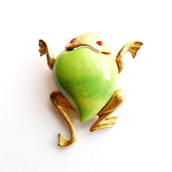 Vintage Frog Brooch Ceramic Belly Stomach Green Signed JJ Jonette Jewelry Red Eyes Gold Tone Metal Figural Animal Spring