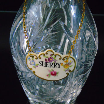 Hammersley China English Porcelain Sherry Liquor Tag Decanter Label Bottle Neck Tag
