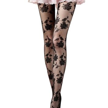 Bohemian  New Rose Lace Sheer tights women Solid Club Wear Womens Pantyhose High Tights medias de mujer #1111