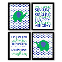 You Are My Sunshine, First We Had Each Other, Set of 4, Elephant Nursery, Boys Room, Children's Art, Custom, Blue & Green, INSTANT DOWNLOAD