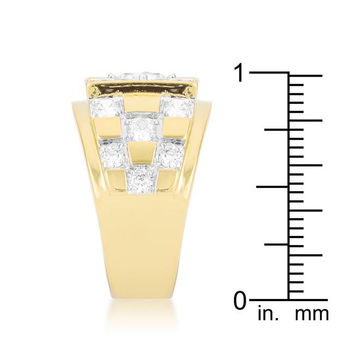Checkerboard Cubic Zirconia Ring, size : 14