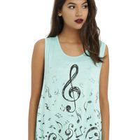 Mint Music Drop Arm Girls Tank Top