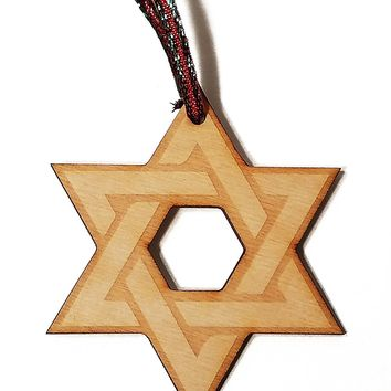 Star of David Hanukkah Jewish Laser Engraved Wooden Christmas Tree Ornament Gift Seasonal Decoration