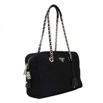 Prada Tessuto Impuntu Bauletto Quilted Nylon Chain Shoulder Bag BL0903, Black / Nero