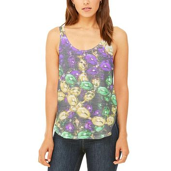 Mardi Gras Beads Juniors Flowy Side Slit Tank Top