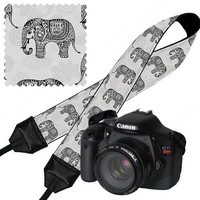 DSLR Camera Strap Cute Camera Neck Strap Elephant  / Janine King USA Handmade