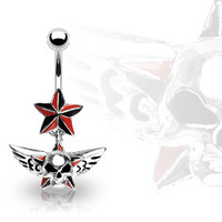 14g Dangling Red & Black Winged Skull & Star Belly Button Ring Dangle Navel Body Jewelry Piercing with Surgical Steel Curved Barbell
