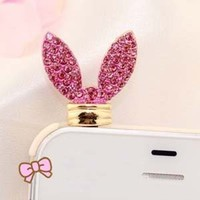 Crystal Bunny ears Earphone Jack / Dust Plug 3.5mm Antidust Anti Dust ear cap for iphone 5, HTC, Sa