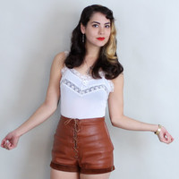 70s High Waisted LEATHER SHORTS | Vintage 1970s Lace Up Hot Pants | small
