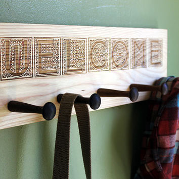 Hardwood Wall Coat Hanger with Walnut Pegs and Welcome Sign Engraving - Hooks for Entryway