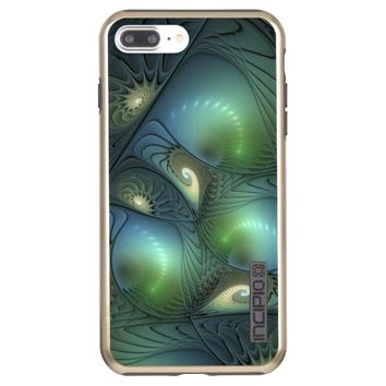 Spirals Beige Green Turquoise Fantasy Fractal Incipio DualPro Shine iPhone 7 Plus Case