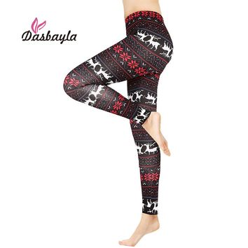 Leggings Christmas Print High Elasticity Fashion Casual leggings Santa Claus Aztec snowflake Print