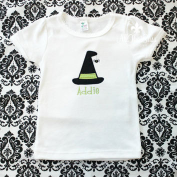 Girls Shirt or Baby Girls Onesuit Halloween - Witch Hat - FREE Personalization - Custom - Baby Shower Gifts - Embroidered - Monogrammed