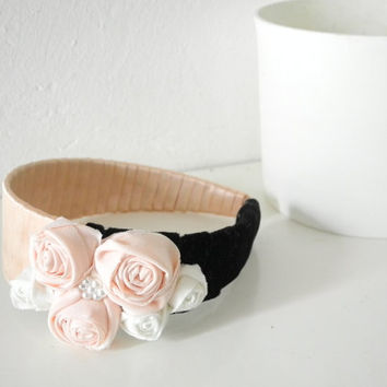 Headband soft pink black white with rosettes, pearls, satin and velvet ribbon - ready to ship