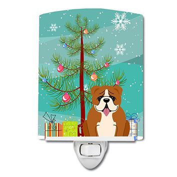 Merry Christmas Tree English Bulldog Red White Ceramic Night Light BB4245CNL