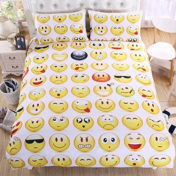 BeddingOutlet Emoji Bedding Set Interesting and Fashion Duvet Cover for Young People New Year Bedclothes 3 Pieces For Gift