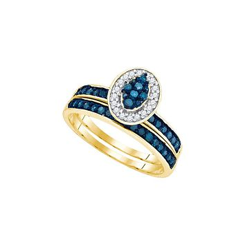 10kt Yellow Gold Womens Blue Colored Diamond Cluster Bridal Wedding Engagement Ring Band Set 1/2 Cttw 89464