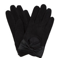 Suede Bow Gloves - Black