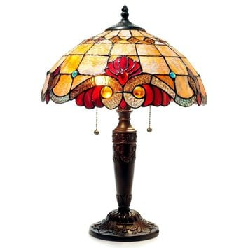 "CH15063AV15-TL2 SHELLY Tiffany-style 2 Light Victorian Table Lamp 14.5"" Shade"