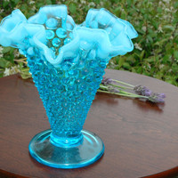 "5"" Footed Double Crimped Vase in Hobnail-Blue Opalescent by Fenton circa 1950's"