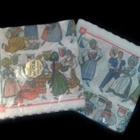 Vintage WIDA 50 Paper Napkins With Engraved Dresses Bern 2 Packages of 25 Switzerland Made Napkins Retro Folk Costume Napkins Vintage Gift