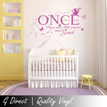 Personalised Once Upon A Time Princess Wall Sticker vinyl Decal Girls Bedroom T2 100x55