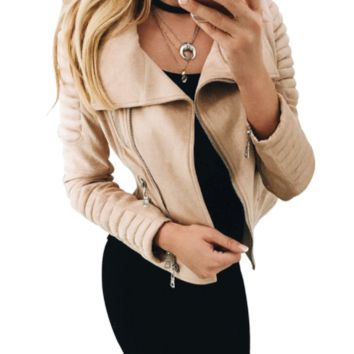 Faux Leather Tan Suede Jacket