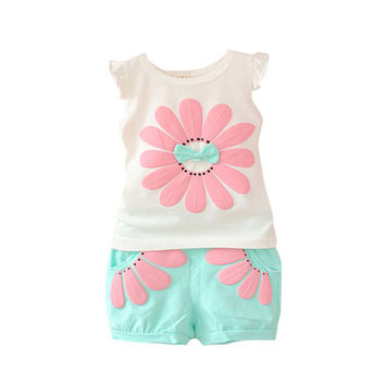 Toddler Baby Girls Clothing Set Sunflower Girls Clothes Sets Kids Casual Sport Suit Set SM6