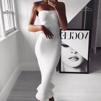 White Off Shoulder Bandeau Ruffle Mermaid Bodycon Elegant Banquet Party Fishtail Midi Dress