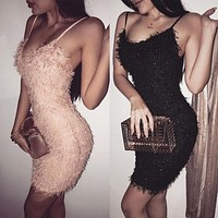 Sexy Women Shinny Tassel Dress Bodycon Sleeveless High Waist Evening Party Club Short Mini Dress
