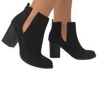 Amble Suede Booties in Black