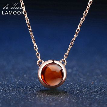 LAMOON 6mm 1.2ct 100% Natural Round Orange Red Garnet 925 Sterling Silver Jewelry Rose Gold Chain Pendant Necklace S925 LMNI026