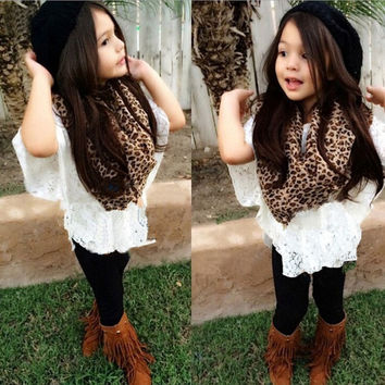high quality 2016 summer new fashion kids baby girls clothing set lace top +scarf +legging 3 pcs [7955702407]