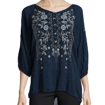 Kiki 3/4-Sleeve Embroidered Blouse, Size: