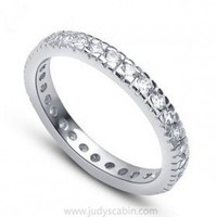 Pave CZ Diamond Eternity Ring in Sterling Silver - Cubic Zirconia Rings - Rings