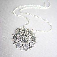 Antique Silver Flower Necklace Victorian style by smilesophie