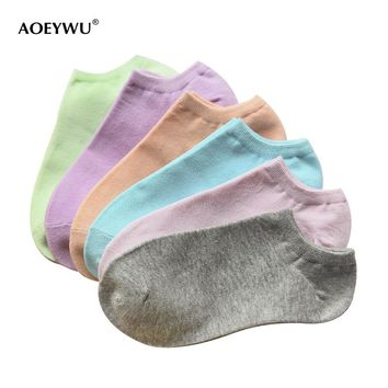 summer fashion candy color thin cotton invisible boat socks for women shallow mouth low socks ladies sock slippers 8pairs/lot