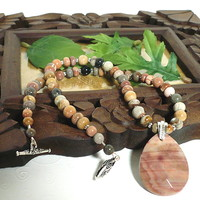 Rainbow Onyx Briolette Pendant and 20 inch Onyx Gemstone Necklace Set